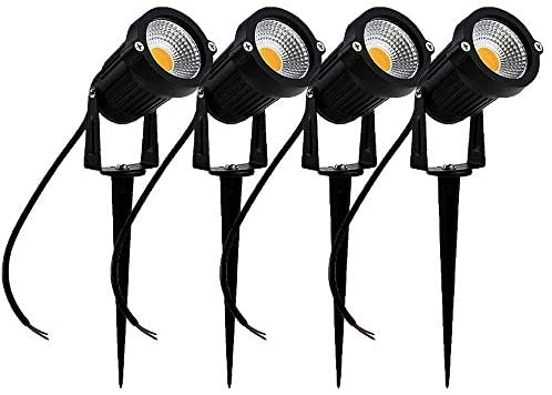 SIKOT Outdoor Decorative Lamp Lighting 5W COB LED Landscape Garden Wall Yard Path Light Warm White DC 12~24V w/Spiked Stand for Lawn (4 Pack)
