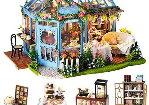 Spilay Dollhouse Miniature with Furniture,DIY Dollhouse Kit Plus LED Light & Music Box,1:24 Scale Creative Room Toys for Children Girl Birthday Gift for Lover and Friends(Rose Garden Tea House)