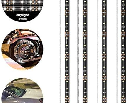 """Geeon LED Strip Lights Waterproof 12V 6000K Daylight White for Auto Car Truck Motorcycle Boat Interior Lighting UL Listed 30CM/12"""" 2835 SMD Pack of 4"""
