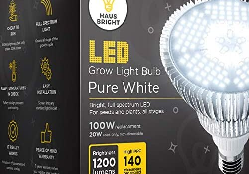 LED Grow Light Bulb – for Indoor Plants Full Spectrum Lamp | Seed Starting, House, Garden, Vegetable, Succulent, Hydroponic, Greenhouse & Medicinal Growing | 100W E27 Pure White by Haus Bright