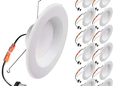 OSTWIN (12 Pack) 5/6 Inch Dimmable LED Baffle Downlight Recessed Retrofit Kit Lighting Fixture, LED Ceiling Can Light, 15W (120W Replacement) 1100 Lm, 3000K Warm Light, Energy Star & ETL