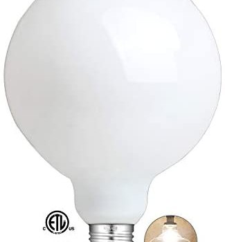 CRLight 12W Dimmable LED Large Globe Bulb 80W Equivalent 800LM, 2700K Warm White E26 Base, Vintage Edison G125 Large Milky Pearl Glass LED Filament Light Bulbs, Smooth Dimming Version