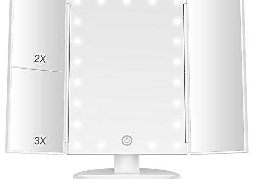 BESTOPE Makeup Mirror with Lights 21 Led Vanity Mirror with 2X/3X Magnification,Touch Screen ,Portable Lighted Makeup Mirror 180 Degree Rotation Dual Power Supply