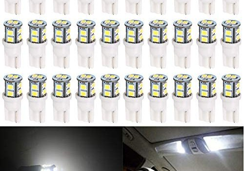 Alopee 30-Pack T10 194 168 2825 175 W5W White Extremely Bright 10-SMD 2835 LED Light 12V Car Replacement Bulb for Map Dome Courtesy Side Marker License Plate Light