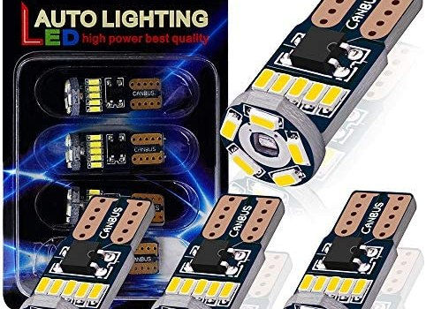 AutoLite T10 194 2825 Led Bulbs, Super Bright Interior Car Light Bulbs 168 W5W, Xenon White 6000K with CANBUS Error Free, Best for License Plate Light Led Dome Light Map Truck Door Courtesy Light