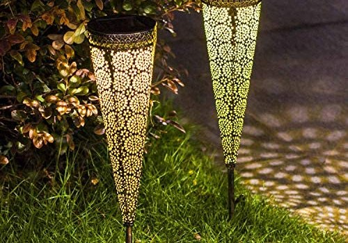 TAKE ME [Set of 4] Solar Pathway Lights Garden Outdoor,Waterproof Metal Decorative Stakes for Walkway,Yard,Lawn,Patio