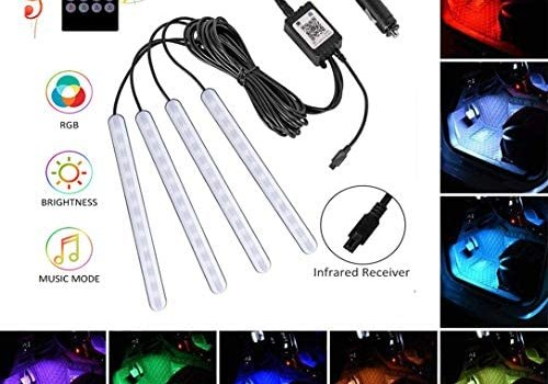 furein 4PCS 48 LED Interior Lights DC 12V Multicolor Music Car Strip Light Under Dash Lighting Kit with Sound Active Function and Wireless Remote Control