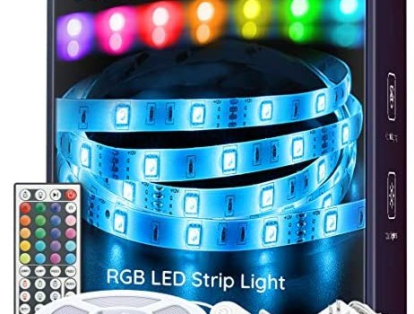 LED Strip Lights, Govee 16.4ft RGB Color Changing Light Strip Kit with Remote and Control Box for Room, Bedroom, TV, Ceiling, Cupboard Decoration, Bright 5050 LEDs, Cutting Design, Easy Installation