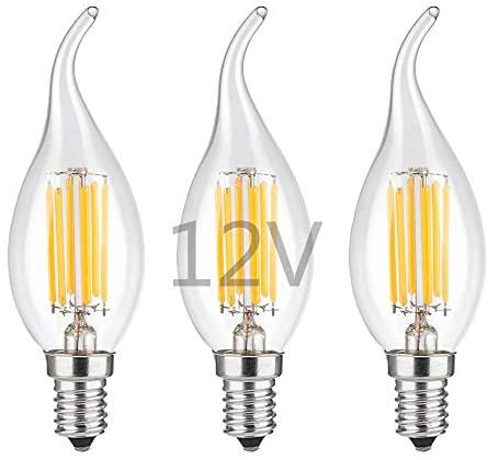 OPALRAY LED Candelabra Bulb,12V Low Voltage, Dimmable with DC Dimmer, 6W 600Lm, 60W Incandescent Equivalent, Warm White Light, E12 Small Base, Clear Glass Flame Tip, DC 12V to 24V Power Supply, 3 Pack