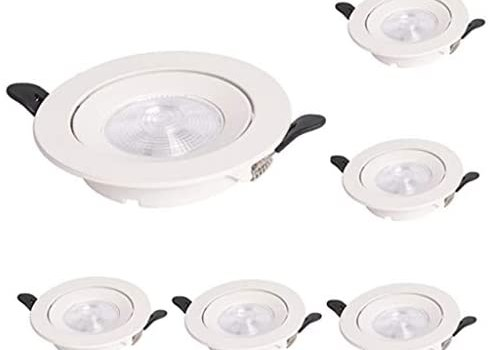Led Round Recessed Ceiling Flat Panel Down Light 5w Downlights Not Dimmable Set of 6 Spotlights Cut 75-80mm Ac85~265v Round Aluminum Alloy Casing for Living Room Bedroom Kitchen[energy Class A++]