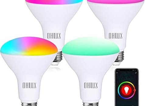 OHLUX Smart WiFi Flood Light Bulb E26 Base 1000Lumen (100W Equivalent),10W BR30 LED Bulb Compatible with Alexa, Google Home, IFTTT, Siri, 2700K-6500K Dimmable, Indoor use (No hub Required) – 4Pack
