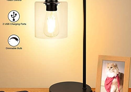 Industrial Touch Control Table Lamp, Dual USB Charging Ports, 3 Way Dimmable Vintage Bedside Nightstand Lamp, Glass Shade Desk Reading Lamp for Farmhouse Bedroom Living Room LED Edison Bulb Included