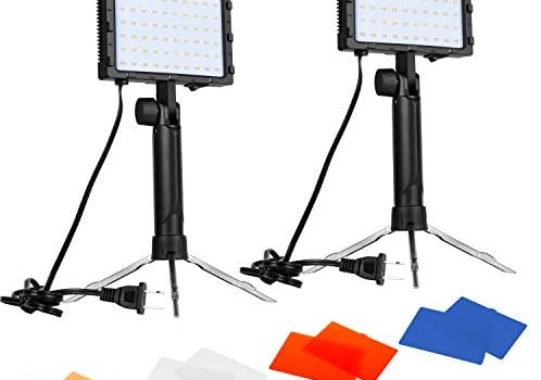 Emart 60 LED Continuous Portable Photography Lighting Kit for Table Top Photo Video Studio Light Lamp with Color Filters – 2 Packs