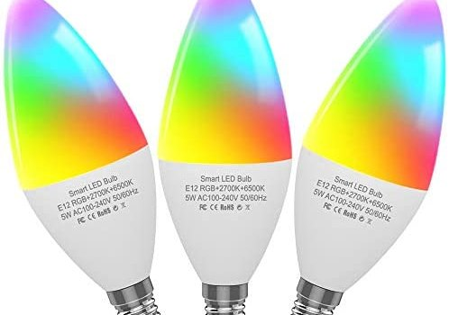 CMARS Smart Light Bulb,E12 Base,Candelabra Light Bulbs Compatible with Alexa Google Home,Dimmable and Color Changing,320 lm 35w Equivalent (2.4 Ghz only) 3 Pack