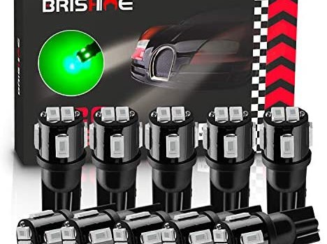 BRISHINE 194 LED Bulbs Extremely Bright Green 5630 Chipsets 168 2825 175 T10 W5W LED Replacement Bulbs for Car Interior Dome Map Door Courtesy Trunk License Plate Lights(Pack of 10)