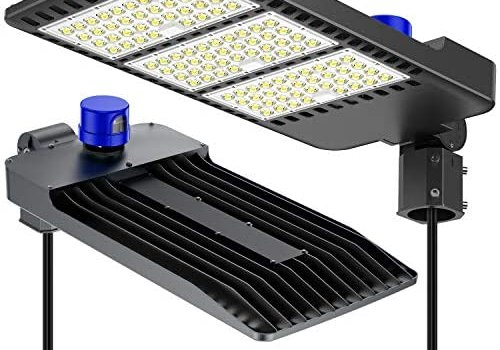 300W Parking Lot Lights, ETL Certified Waterproof IP66 Commercial LED Area Lighting, 5000k Pole Light with Dusk to Dawn Photocell- Slip Fitter, LED shoebox Light, Black
