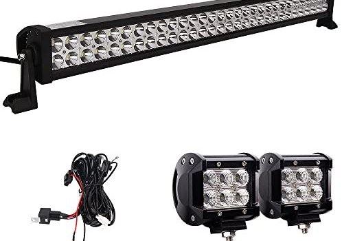 LED Light Bar, Northpole Light 32″ 180W Waterproof Spot Flood Combo LED Light Bar with 2PCS 18W CREE Flood LED Work Lights and 12V 40A Wiring Harness for Off Road, Truck, Car, ATV, SUV, Jeep