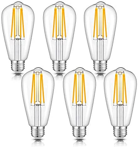 CRLight 8W Dimmable LED Edison Bulb 80W Equivalent 2700K Warm White 800LM, E26 Medium Base Antique ST64 Lengthened Filament LED Bulbs, Smooth Dimming Version, 6 Pack