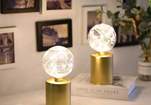 JHY DESIGN Set of 2 Gold Table Lamp Battery Powered 8″ Tall Cordless Lamp Light Battery Operated Great for Living Room Bedroom Weddings Parties Patio Events Indoors Outdoors