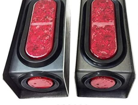 2 Steel Trailer Light Boxes w/6″ LED Oval Tail Lights & 2″ LED Red Round Side Lights w/Wire connectors