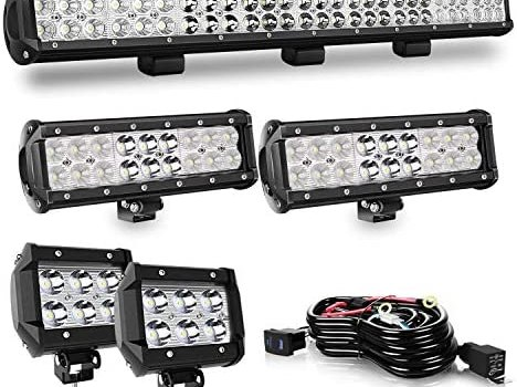 QUAKEWORLD 25″ Inch 162W LED Light Bar Spot Flood Combo LED Bar + 9Inch LED Light+ 4Inch Cube Pods Fog Lights with Rocker Switch Wiring Harness for ATV UTV Truck Dodge Ram Polaris