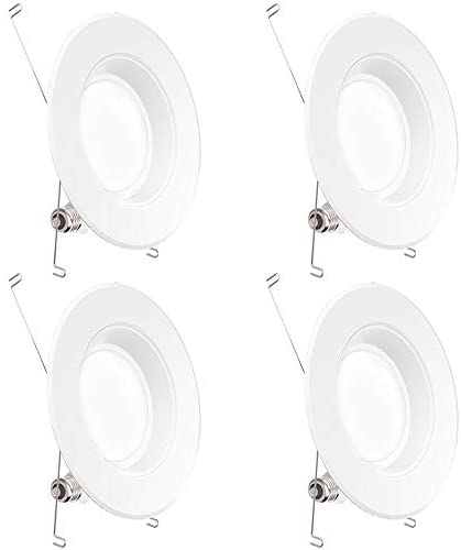 Sunco Lighting 4 Pack 5/6 Inch LED Recessed Downlight, Baffle Trim, Dimmable, 13W=75W, 3000K Warm White, 1050 LM, Damp Rated, Simple Retrofit Installation – UL + Energy Star