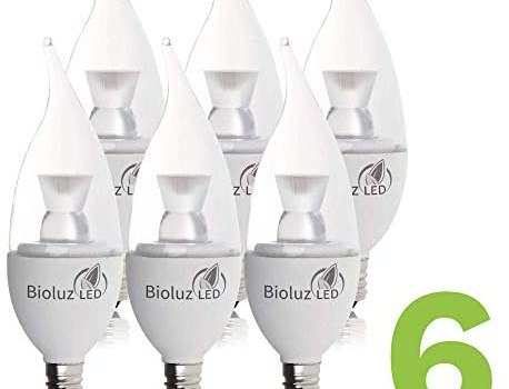 """6 Pack Bioluz LED """"Flame Tip"""" Dimmable Candelabra LED E12 Candelabra Base Candle Bulbs 2700K (Warm White) 40 Watt using only 4.5 Watts, 325 LM, Chandelier, Indoor/Outdoor"""