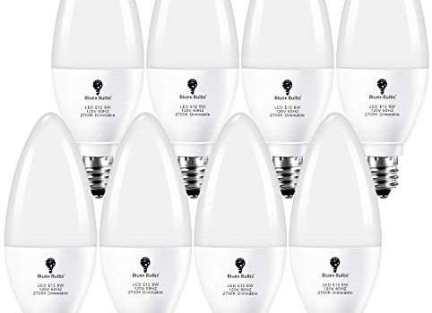 8 Pack Dimmable E12 LED Bulb 6W Candelabra Bulbs 2700K Warm White 650lm (60W Equivalent) E12 Light Bulb for Ceiling Fan Light Bulbs, Chandelier Light Bulbs, Kitchen, Fixtures, Dinning Candle Bulbs