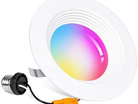 Smart WiFi 4″ inch LED Downlight, 10W LED Recessed Dimmable Lighting, Voice Control by Alexa Google Home, Housing Can Ceiling Downlight Color Changing 2700K – 6500K, 850 LM, Baffle Design, No Hub
