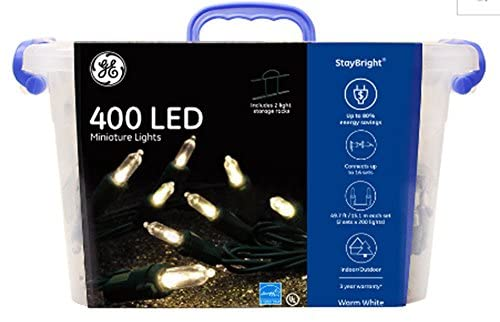 GE StayBright 400-Count 99.5-ft Constant Warm White White Mini LED Plug-In Indoor/Outdoor String Lights