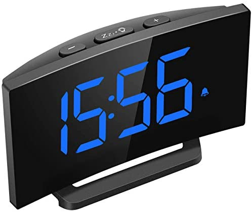 """Mpow Digital Alarm Clock, 5"""" Curved LED Screen, 6 Brightness, 3 Alarm Sounds, Easy Digital Clock for Kids and Adults, Alarm Clocks for Bedrooms Kitchen Office, Adjustable Volume, Snooze, 12/24H"""
