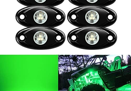 6 Pods LED Rock Lights, Ampper Waterproof LED Neon Underglow Light for Car Truck ATV UTV SUV Jeep Offroad Boat Underbody Glow Trail Rig Lamp (Green)