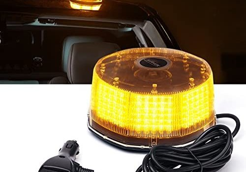 Xprite Amber Yellow 240 LED Emergency Warning Rotating Strobe Beacon Light, 14 Flash Modes Revolving Safety Caution Lights with Magnetic Mount, for 12V Vehicle Truck Snow Plow