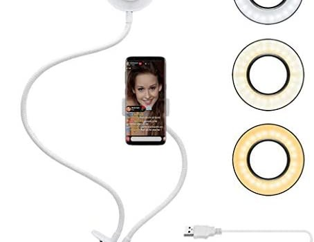 Velouer Selfie Ring Light with Cell Phone Holder Stand for Live Stream/Makeup, LED Camera Lighting [3-Light Mode] with Flexible Arms Compatible with iPhone 8 7 6 Plus X Android (White)