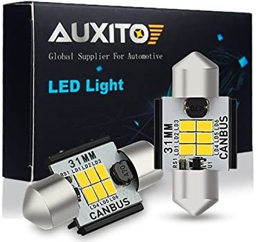 AUXITO 400 Lumens 1.25 inch 31MM DE3175 DE3021 Canbus Error Free Festoon LED Bulbs 3020 Chipsets for Interior Car License Plate Dome Map Door Courtesy Lights Xenon White, Pack of 2