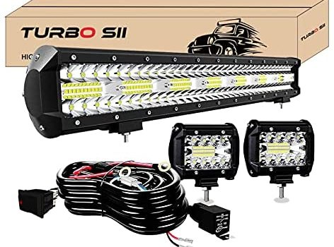 TURBO SII – 20 Inch LED Light Bar 420W Triple Row 42000LM Spot Flood Combo Offroad Driving Light 2P 4 Inch 60W Led Pods Lights with Wiring Harness Kit 3-Leads for Trucks Jeep ATV UTV SUV Boats
