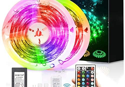 Led Strip Lights Waterproof, DAYBETTER 32.8ft LED Tape Lights Color Changing 300 LEDs Light Strips Kit with 44 Keys Ir Remote Controller and 12v Power Supply for Indoor Outdoor Use