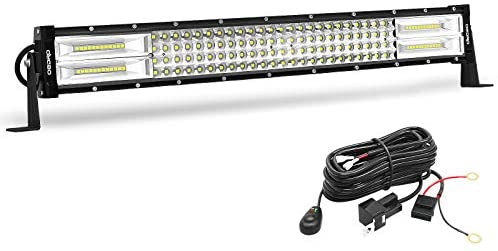 oEdRo LED Light Bar Curved Quad-Row 22Inch 520W Spot Flood Combo Led Lights Work Lights Fog Driving Light Off Road Light with Wiring Harness Fit for Pickup Jeep SUV 4WD 4X4 ATV UTE TruckTractor