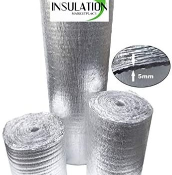 """SmartSHIELD -5mm 16""""X50ft Reflective Insulation Roll, Foam Core Radiant Barrier, Heat-Cold Shield, Thermal Foil Insulation – Pure Aluminum"""