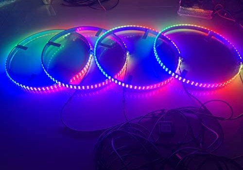 """Dream Chasing Color Flow 15.5"""" IP68 Waterproof Double Row 300Leds Brightest Strobe Led Wheel Ring Lights Rim Lights Car Tire Lights Blue-Tooth APP Control Multi-Colors 4 Lights"""