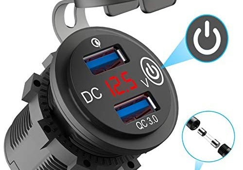 Quick Charge 3.0 Dual USB Outlet, 12V/24V USB Car Charger with On/Off Touch Switch and LED Digital Voltmeter Waterproof Car Socket for Car, Marine, Boat, Motorcycle, Truck and More