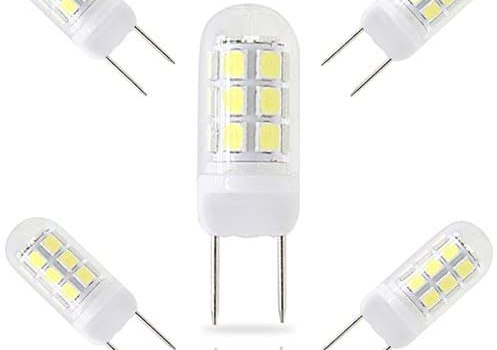 G8 Led Bulb,3.5W Dimmable,AC 120V 350LM,35W Halogen Replacement Bulb,24 X 2835 SMD LED,G8 Bi-Pin Base LED,for Under Counter Kitchen Lighting, Under-Cabinet Light and Puck Light, White 6000K(5 Packs)