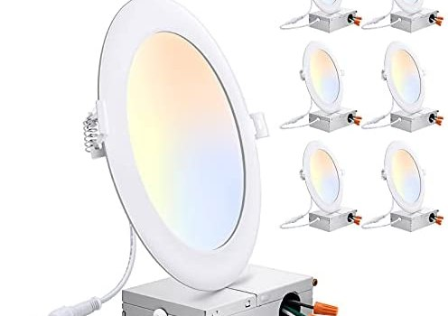 6 Pack 6 Inch 3CCT Ultra-Thin LED Recessed Ceiling Light with Junction Box, 3000K/4000K/5000K Selectable, 15W Eqv 150W, 1400LM High Brightness, Dimmable Canless Downlight Slim Recessed Lighting