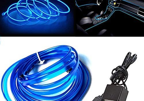 El Wire Blue with 6mm Sewing Edge, 16FT/5M Neon Light USB 5V with Fuse Protection for Automotive Car Interior Decoration