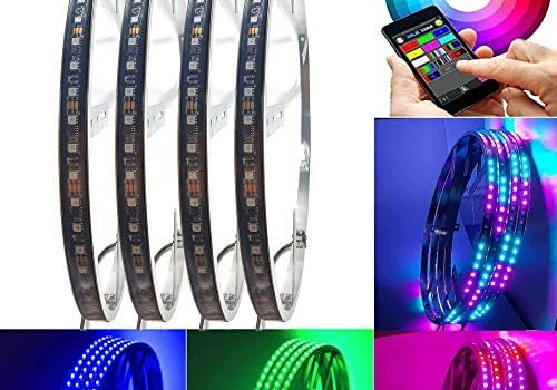 NBWDY 4Pcs 15.5 inch Dancing/Chasing Color LED Wheel Ring Lighting Kits with Blue-Tooth Controller, RGB Dream Color 288LEDs LED Wheel Ring Lamps for Jeep Car Truck SUV Jeep Pickup