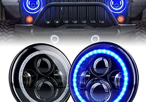 Xprite 7″ inch 90W CREE LED Headlights with Blue Halo Ring Angel Eyes, 9600 Lumens Hi/Lo Beam Head lamp for 1997 – 2018 Jeep Wrangler JK TJ LJ(DOT Approved)