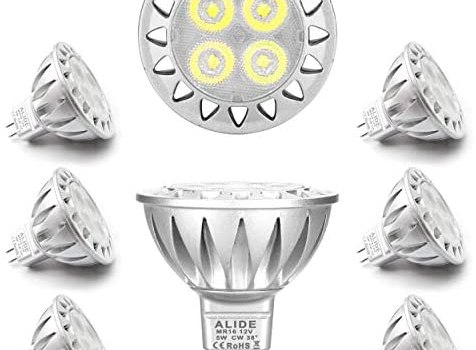 ALIDE MR16 Led Bulbs 6000K Daylight Bright Cool White 5W,Replace 20W 35W Halogen Equivalent,12V MR16 GU5.3 Low Voltage Bulb for Outdoor Landscape Track Ceil Lighting,Not Dimmable,450lm,38 Deg,6 Pack