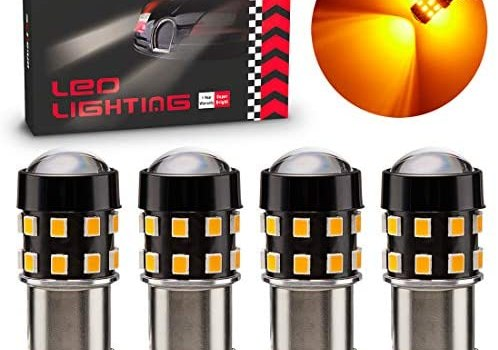 BRISHINE 4-Pack Super Bright 1156 1003 1141 7506 BA15S LED Bulbs Amber Yellow 9-30V Non-Polarity 24-SMD LED Chipsets with Projector for Turn Signal Lights, Side Marker Lights