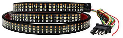HYB 60inch LED Tailgate Light Bar Triple Row 504 LEDs Truck Tailgate Strip Light 4-Way Flat Connector Wire with Brake Reverse Running Sequential Turn Signal Strobe for Pickup Trailer Jeep
