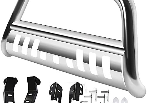 AUTOSAVER88 Bull Bar Compatible for 2004-2021 Ford F150/2003-2014 Navigator Stainless Chrome Bull Bar 3″ Push Front Bumper Grill Grille Guard with Skid Plate
